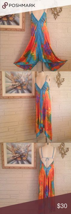 """NWT Signature JMB Halter Style Dress Beautiful multi color dress in orange/turquoise/yellow and green satin Polyester fabric with beaded accent """"V"""" neckline, deep low cut back, Asymmetrical hem with longer sides, shorter front. 100% Polyester. Spot Clean. Hang Dry. Signature JMB Dresses Asymmetrical"""