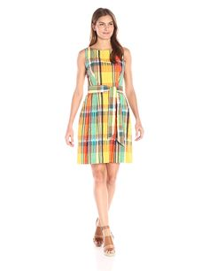 Anne Klein Women's Seersucker Boat-Neck Fit-and-Flare Dress with Sash >>> See this awesome image  : Dresses for women