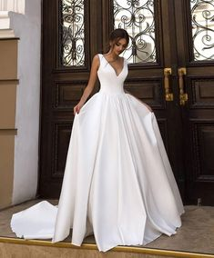 Cinderella V-Neck Sleeveless A-Line Court Train Zipper Back Satin Wedding Dresses Simple Style Ivory Bridal Wedding Gowns Amazing Wedding Dress, Top Wedding Dresses, Wedding Dress Trends, Gorgeous Wedding Dress, Designer Wedding Dresses, Bridal Dresses, Wedding Gowns, Lace Wedding, Wedding Dress For Short Women