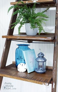Create a leaning display shelf out of an old ladder. I like the fern!