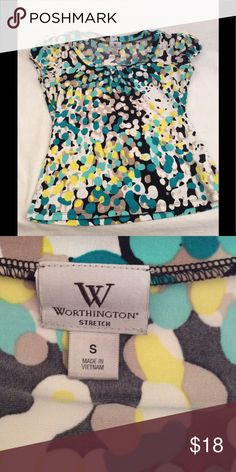 Worthington Top Women's size small Worthington top, black, yellow, white, turquoise in colors great condition and comes from a smoke free home. Worthington Tops Blouses