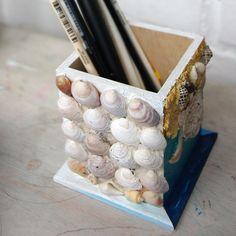 How to create nice sea style pencil cup / Легкий способ декорировать карандашницу морскими ракушками, собранными в отпуске у моря