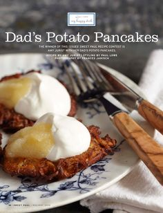 Dad's Potato Pancakes - Sweet Paul Magazine - Holiday 2010 - Page 14 My Favorite Food, Favorite Recipes, Sweet Paul, Potato Pancakes, Food Tasting, Holiday Baking, Holiday Recipes, Holiday Foods, Yummy Food
