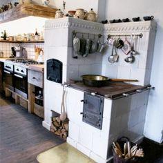 Wild duck in Masuria: country porch Modern Farmhouse Kitchens, Rustic Kitchen, Kitchen Decor, Rustic Outdoor Spaces, Outdoor Kitchen Design, Antique Stove, Kitchen Stove, Summer Kitchen, Kitchen Interior