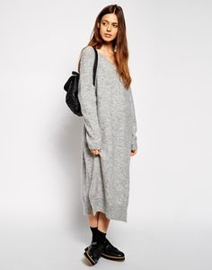ASOS Oversized Jumper Dress with V-neck in Mohair Wool Mix