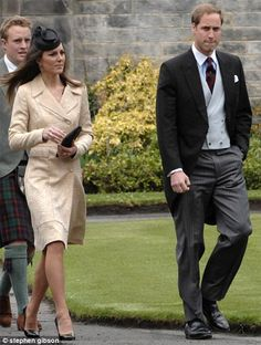 May 1, 2010 Kate Middleton attended the wedding of their former housemate from St Andrew's, Oli Baker marry Mel Nicholson. Kate was wearing a repeat cream and gold brocade knee length coat by Day Birger et Mikkelson. She has previously worn at Laura Parker Bowles' wedding in 2006. Underneath she wore a black dress.