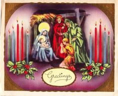 Vintage Christmas card with Nativity scene and candles.