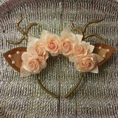 Floral Deer Ears Headband by MJistheBOMB on Etsy