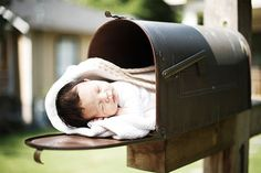 "newborn photo - the only improvement I can think of to add to this particularly cute idea would be to have ""Grandma's House"" stenciled on the outside of the mailbox. (laughing)"
