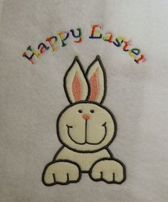 Easter Bunny Applique/Embroidery Design 3 by LMTEmbroideryDesigns Applique Embroidery Designs, Machine Embroidery, Dog Template, Happy Easter Bunny, Hardware Software, Painted Rocks, Kids Rugs, Rock Painting, Sewing
