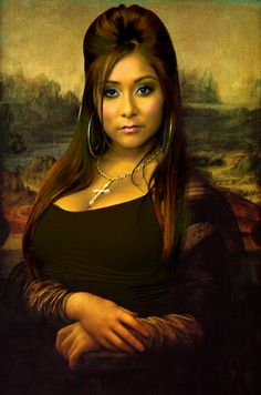 Our girl Snooki like you've never seen her, as Mona Lisa! Too funny ; Mona Lisa Parody, Mona Lisa Smile, Snooki, Photoshop, Stress Relief, Laugh Out Loud, Art History, Make Me Smile, My Idol