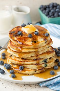 Is there anything betterthan waking up on a weekend morning to a tall stack of fluffy, fresh blueberrypancakes? These Blueberry Sour Cream Pancakes are p