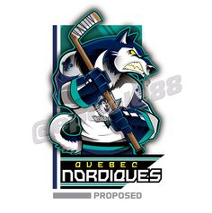 A Grey Wolf with a proposed jersey for the Quebec Northerners (Nordiques)