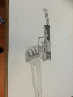 Deze les ben ik bezig geweest met het verbeteren van het kleine hoofd dat uit het geweer komt. Het arceren ging goed, maar het kan nog beter. In de vakantie wil ik het vuur donkerder maken