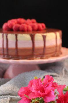 Tarta mousse de chocolate con leche, frambuesas y vainilla