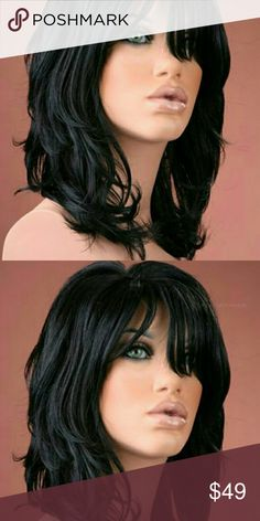 Beautiful Max Volume Layered Waves Wig Black, medium cap, synthetic hair Accessories Hair Accessories