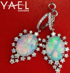 Why choose one color when you can have them all with white opal earrings! #WhatsYourColor #WhiteOpal #WhiteOpalEarrings #YaelDesigns
