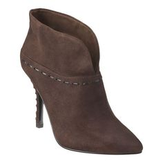 "Chic pointy toe slip-on 4"" bootie with split collar.  Whip stictched detail.  Leather upper."