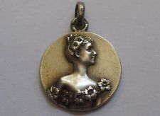 ANTIQUE ART NOUVEAU STERLING SILVER FRENCH MAIDEN FLOWER MEDAL CHARM Woman Lady