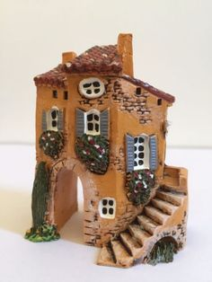 MINIATURE J CARLTON DOMINIQUE GAULT COLLECTIBLE FRENCH PROVENCE STAIRS BUILDING