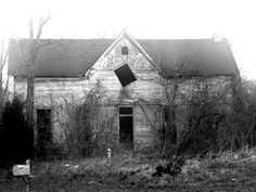 The house with the square window - Photo and story by Justin Makler Location: Hwy 46 between Bloomington and Ellettsville Indiana File Under: Haunted House, Death, ghosts Sent in from Bill W on I was told that there was. Haunted House Pictures, Real Haunted Houses, Creepy Houses, Spooky House, Most Haunted, Haunted Mansion, Abandoned Buildings, Old Buildings, Abandoned Places