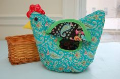 Funky Chicken - Roll, Bread or Buscuit Basket Cover - Please indicate Desired Color Scheme
