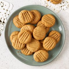 Only four ingredients and one bowl are needed for these healthy peanut butter cookies. If you want to make this recipe gluten-free, make sure the oat bran is made in a certified gluten-free facility. —Taste of Home Test Kitchen, Milwaukee, Wisconsin Healthy Peanut Butter Cookie Recipe, Sugar Free Cookie Recipes, Sugar Free Cookies, Butter Cookies Recipe, Healthy Cookies, Healthy Snacks, Healthy Breakfasts, Healthy Sweets, Eating Healthy