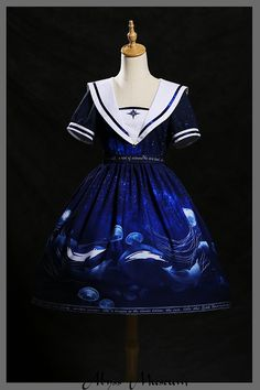 Abyss Museum -The Orbit of Stars- Dolphins and Jellyfishes Printed Lolita OP Dress