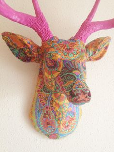 Paisley Deer Head wall mount by BananaTreeStudios on Etsy
