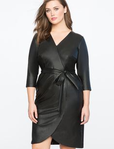 Faux Leather Wrap Dress BLACK