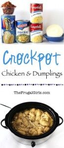 Crockpot Chicken and Dumplings Recipe - at TheFrugalGirls.com