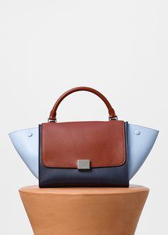 Small Trapeze Shoulder Bag in Pale Blue Muticolour Shiny Smooth Calfskin - Céline