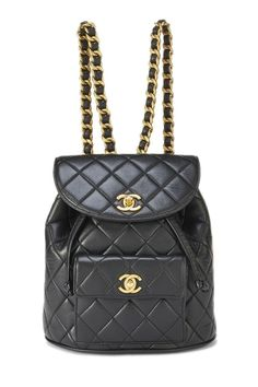 Pre-Owned Chanel Black Lambskin Classic Backpack Small Denim Handbags, Quilted Handbags, Chanel Handbags, Purses And Handbags, Gucci Bags, Channel Bags Handbags, Black Backpack, Backpack Bags, Small Backpack