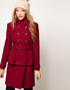 cute long warm coat ASOS