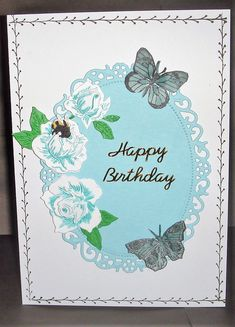 Stamped edge & Butterflies, T. Lace flowers coloured with S. Lace Flowers, Colorful Flowers, I Card, Pens, Butterflies, Happy Birthday, Stamp, Art, Happy Brithday