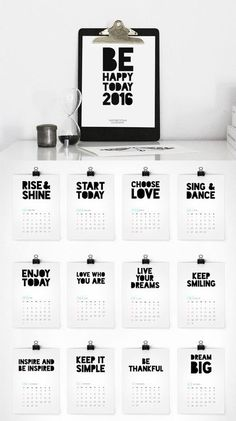 Printable 2016 inspiration calendar by Colour Moon. This is one of our faves from last year - so glad to see she's updated it!