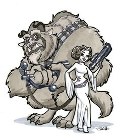 Beauty and the Beast Leia and Chewbacca by James Silvani