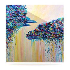 """Ebi Emporium """"Silver Linings"""" Beige Blue Luxe Square Panel"""