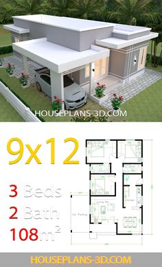 House design with 3 bedrooms slop roof - House Plans Simple House Design, Minimalist House Design, Modern House Design, Little House Plans, Dream House Plans, House Layout Plans, House Layouts, Home Building Design, Home Design Plans