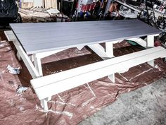 How to DIY Finish an Outdoor Picnic Table by MyOutdoorPlans - Building Our Rez Painting Outdoor Wood Furniture, Outdoor Picnic Tables, Backyard, Patio, Exterior Paint, Entryway Tables, Outdoor Living, Building, Diy