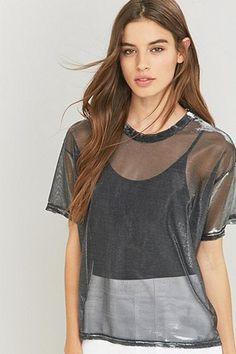 8bff990d802 Light Before Dark Liquid T-shirt Urban Outfitters, Parisian Style, Black  Mesh Crop