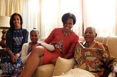 Michelle Obama,Sasha,Malia Obama with Nelson Mandela. Malia Obama, Barack Obama Family, Nelson Mandela, Obama Daughter, First Daughter, Barbara Bush, Michelle Obama Fashion, Barack And Michelle, First Black President