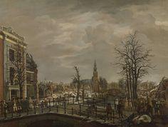 Leyden (Netherlands), Rapenburg, after an explosion in a gunpowder warehouse , by Carel Lodewijk Hansen, 1807