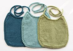 Lovely free pattern for bibs in brilliant colours or with delicate embroidery. I-Love-Stockinette Baby Bib pattern by Laura Treadway. http://www.ravelry.com/patterns/library/i-love-stockinette-baby-bib