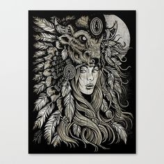 Spirit of the Buffalo Stretched Canvas by Derrick Castle - $85.00 - The incredible work of Derrick Castle. His style is amazing and the detail is just insane.