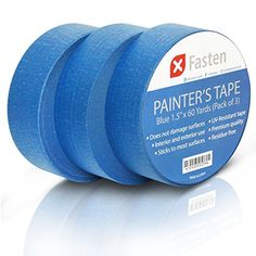 XFasten Professional Blue Painters Tape, Artisan-Grade Multi-Use, 1.5 Inches x 60 Yards (Pack of 3) ** undefined