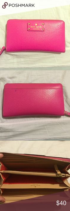 Kate spade wallet Hot pink Kate spade wallet. Has a small ink mark on the back. Like new on the front and inside. kate spade Bags Wallets