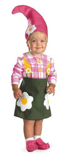 This adorable costume will be the hit of the garden party. The Flower Garden Gnome Infant/Toddler Costume includes a dress with floral accent, hat and pin