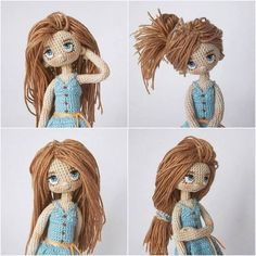 Made by Mint Bunny 100 ideas to try about amigurumi dolls dolls Amigurumi doll with great hair. jacket for dolls diy Crochet Amigurumi, Crochet Doll Pattern, Amigurumi Patterns, Amigurumi Doll, Doll Patterns, Crochet Eyes, Cute Crochet, Crochet Crafts, Crochet Projects