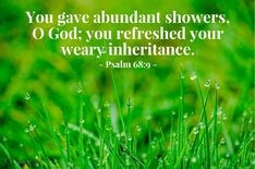 You gave abundant showers, O God; you refreshed your weary inheritance. [ Read devo thought and prayer for this Bible verse ] Psalm 140, Psalms, Free Daily Devotional, Daily Bible, Todays Verse, Bible Society, Then Sings My Soul, Names Of Jesus Christ, Spiritual Disciplines